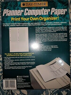 Day Timer Planner Computer Paper Print Your Own Organizer