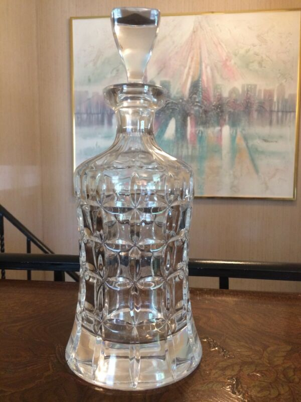 Bombay Pressed Glass Crystal Decanter Whiskey w/Stopper