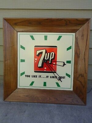 """Vtg 7UP Very Large Lighted Electric Wall Clock with Oak Frame 34"""" X 34"""" Works"""