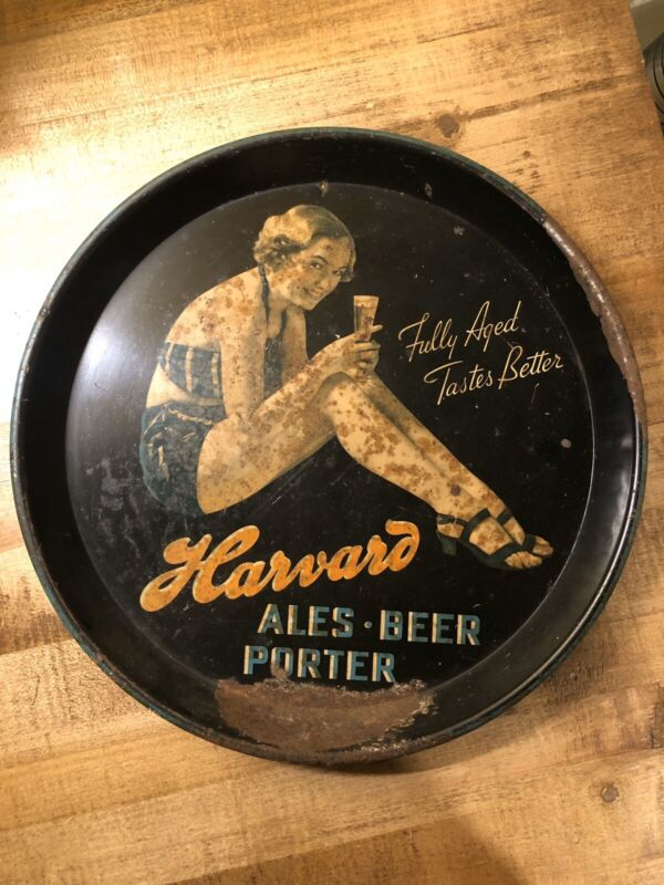 RARE VINTAGE HARVARD BEER BATHING BEAUTY TRAY! LOWELL MASSACHUSETTS PIN UP GIRL