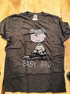 New Discontinued Men's Junk Food Snoopy Series Easy Bro, Charcoal, Size XL ()