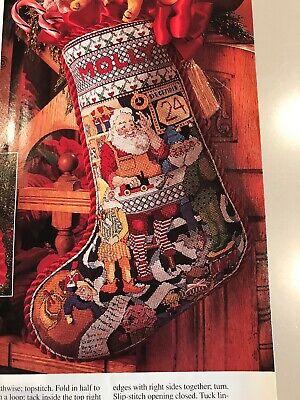 Merry Christmas Santa Stocking Cross stitch pattern only, workshop, toys, elf, -