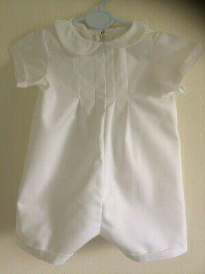Baby Boys Christening Romper (PLAIN WHITE COTTON BABY BOYS ROMPER CHRISTENING BAPTISM CLOTHES PLAIN SOFT )