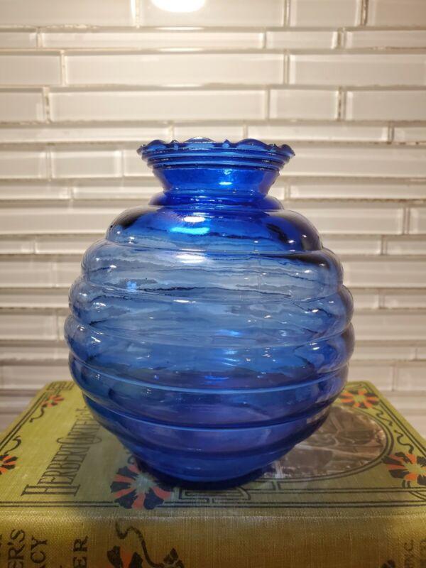 Vintage Hazel Atlas Cobalt Blue Depression Moderntone Vase
