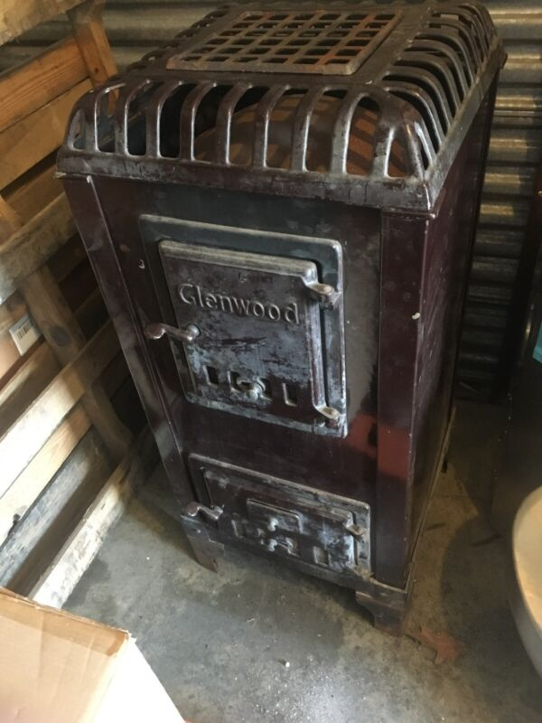 Antique Glenwood Baseheater Wood Coal Burning Stove Brown