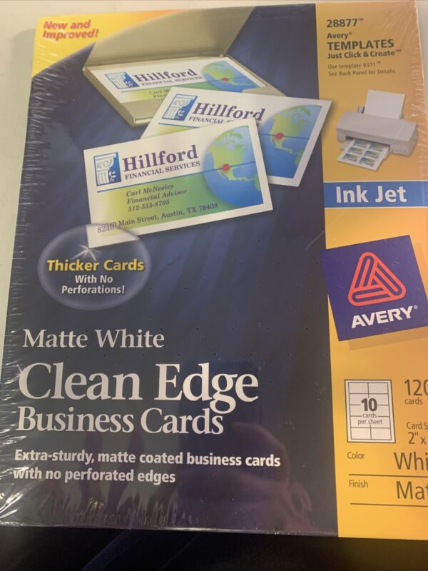 "New Avery 28877 Matte White Clean Edge Business Cards 120 2"" x 3.5"" Ink Jet 8371"
