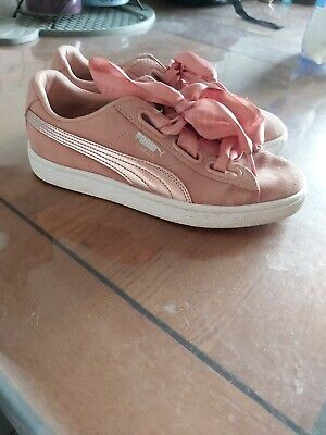 Ladies - Puma Pink Suede Trainers - Size 4 - Ribbon Laces - Summery