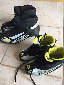 Cross country ski boots and helmets