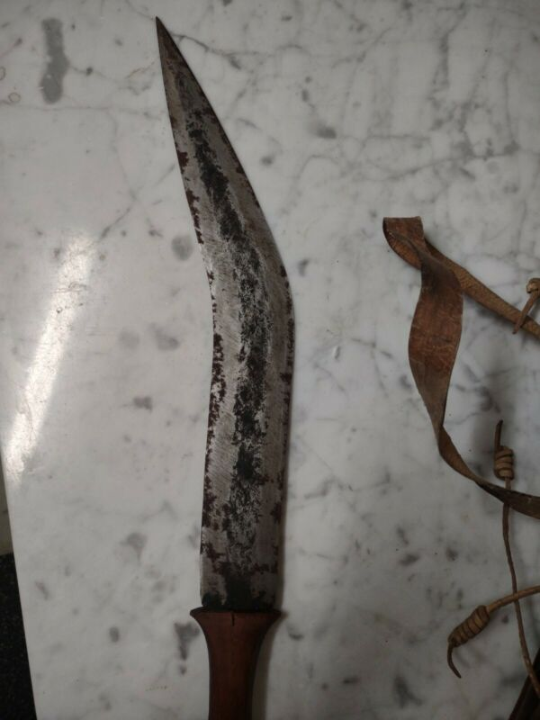 Ceremonial African Somali Jile Sword With Leather Scabbard