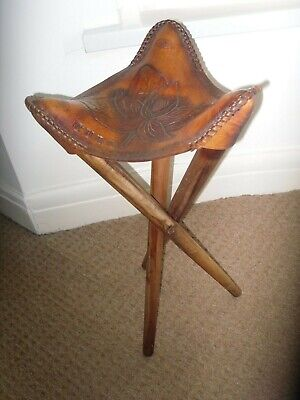 3 Legged wooden Leather Top Carved SEAT / STOOL Leaf Design -CUBA- VG condition