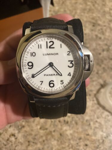 Panerai Luminor Base 44mm Stainless Steel White Arabic Dial PAM 114 - watch picture 1