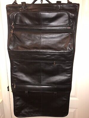 💼 TUMI APLHA 92133D4 BLACK NAPA LEATHER TRI-FOLD GARMENT SUIT BAG 💼 4 Tri Fold Garment Bag
