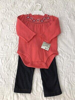 NWT Carters set long sleeves bodysuit pants coral 100% cotton size 18 months 100% Cotton Bodysuit Set