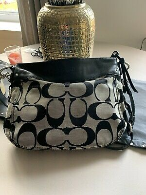 Coach Zoe Hobo Shoulder Bag Grey & Black Purse L0982-F14708