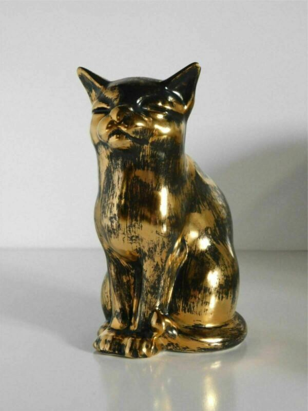 "STANGL ART POTTERY BLACK GOLD 8 5/8"" SITTING CAT FIGURE"