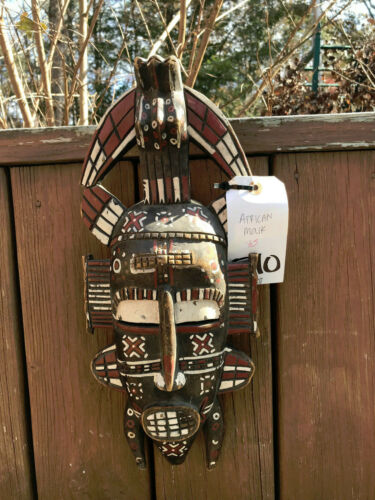 Beautiful Antique African Hand Carved Mask - Ivory Coast Africa Safari Decor510