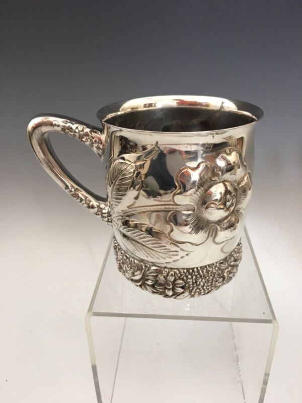 BEST! Victorian Era Rogers Smith Silver Plate Floral Mug in Relief!!