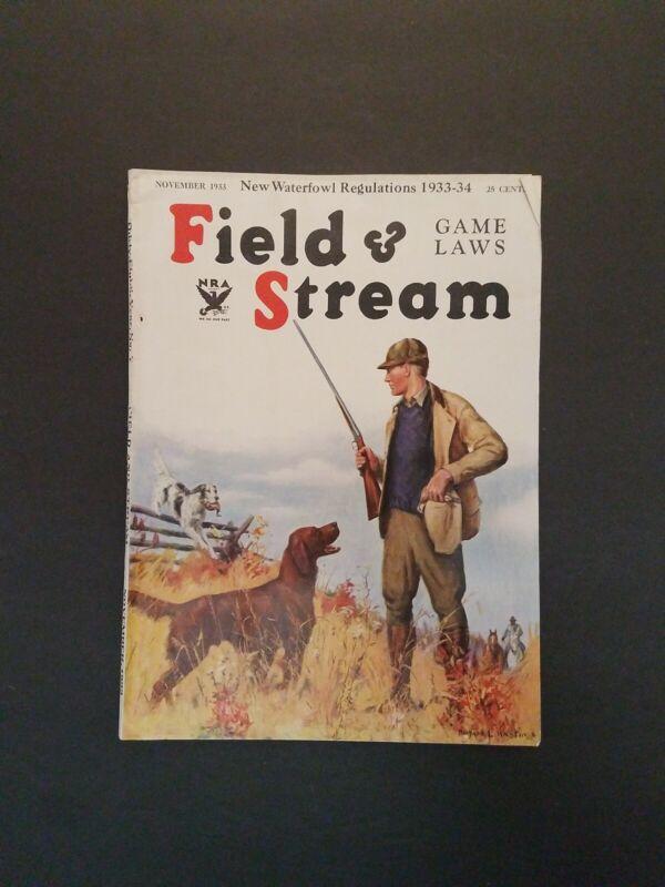 November 1933 Field and Stream Magazine Tiger Hunting in India - Brazeau River