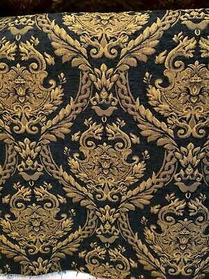 Damask Decorations (Chenille Renaissance damask Home Decor Upholstery, Black Sold By the Yard 58