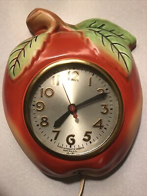 Vintage Sessions Clock Apple As Is (Runs) Kitchen