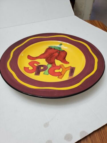 Colorful Ceramic Round Spicy Peppers Platter By Tara Reed Certified Internation - $80.90