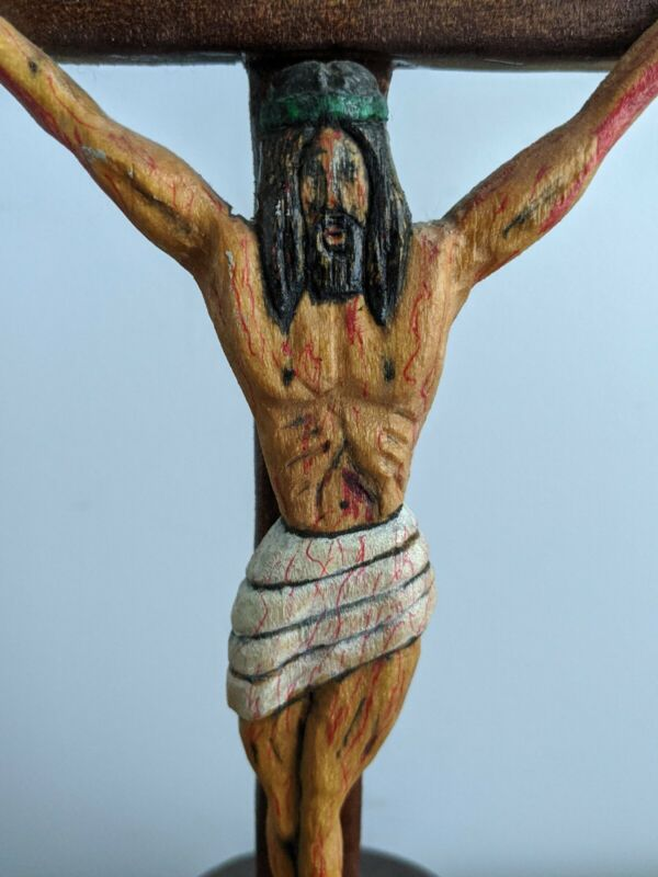 Angola Prison Inmate Folk Art Carved Wood Crucifixion Signed Maurice Bennett