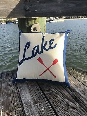 - Lake House 18X18 Throw Pillow Cover Lake Cottage Decoration Indoor/Outdoor--