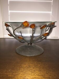 Glass bowl with metal base holder