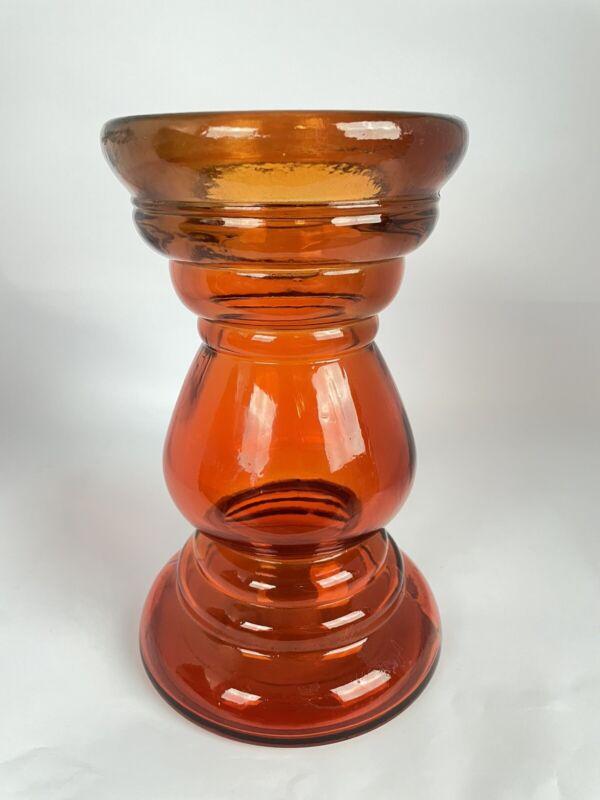 """Red/Amber Hooped Glass Scandinavian Design Vase Large Heavy Glass Vase 7-3/4"""""""
