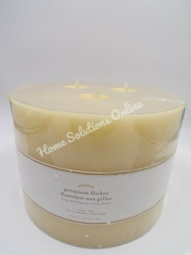 """Pottery Barn Premium Flicker Flameless Triple Wick Wax Candle Ivory 8x5.5"""" 7368R"""