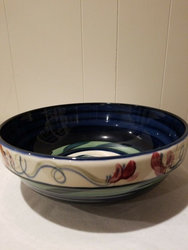 Signed Vintage Gail Pittman 11 Inch Blue Grapevine Serving Bowl
