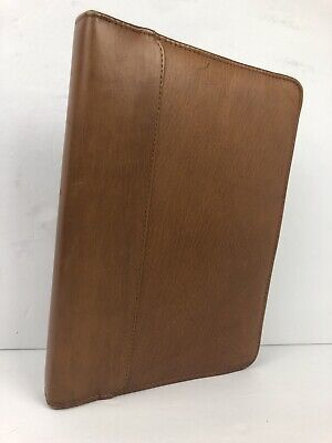 Vintage Rolodex Genuine Leather 3 Ring Personal Organizer Brown