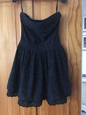 Superdry Black Lace Strapless Party Mini Dress Size XS UK 8