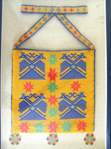 Large Huichol Beaded Hand Made Morral Shoulder Bag Mexico W/ Eagles