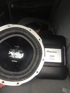 Pioneer amplifier and Sony Xplod subwoofer