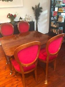 Antique 1840s Walnut  Extendable Table w 4 Upholstered Chairs South Melbourne Port Phillip Preview