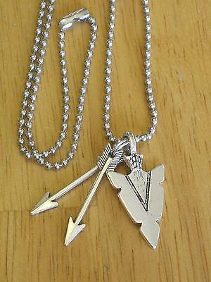 Southwestern/Indian Arrowhead & Arrow Silver-Tone Pendant Necklace Men's/Women's