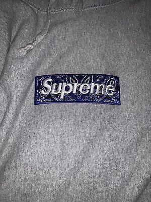 supreme bandana box logo hoodie grey Size M