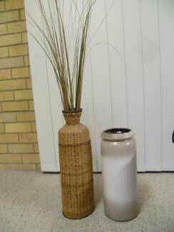 CERAMIC AND CANE URNS - WITH REEDS New Lambton Heights Newcastle Area Preview