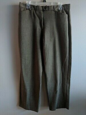 Women's Sag Harbor Stretch Size 14 Petite Dark Brown Patterned Dress Pants