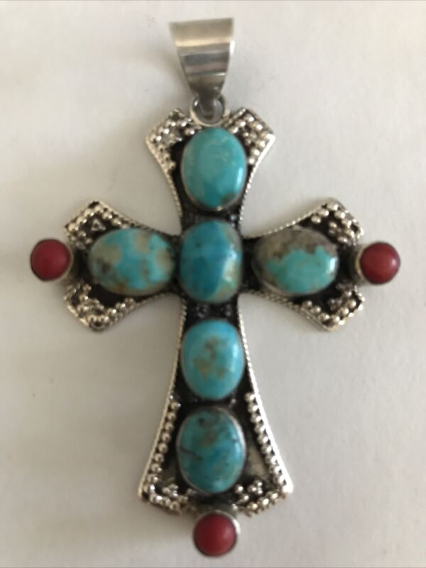 Vintage Hammered Sterling Silver Turquoise Coral Cross Pendant
