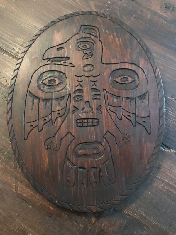 "Early Carved Tlingit Circular Plaque ""Raven & Man"" Ed James ""Alaska"" Rare"
