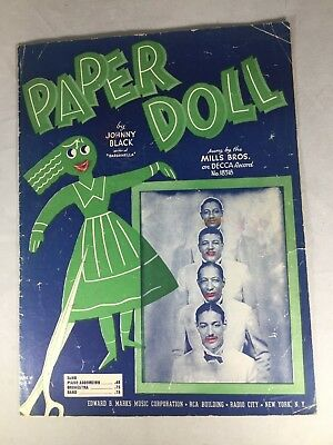 1943 PAPER DOLL Sheet Music THE MILLS BROTHERS Johnny Black