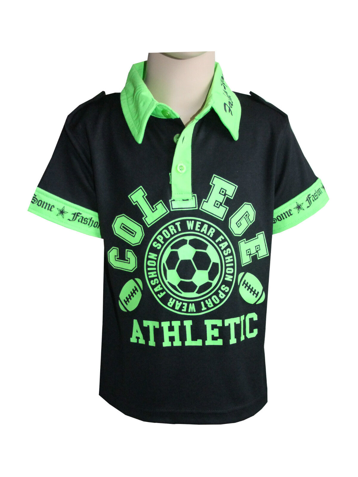 Boys Kids Sports T-shirts Casual Wear Short Sleeve Soft Collared Tops Yr 2 to 14