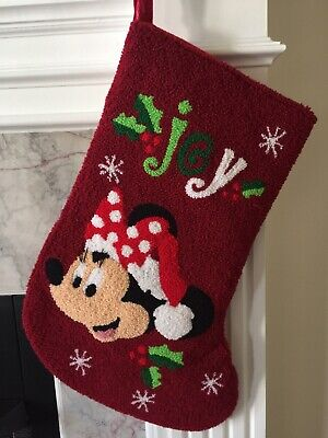 Darling Disney Parks Minnie Mouse Joy Christmas Stocking Plush Holiday