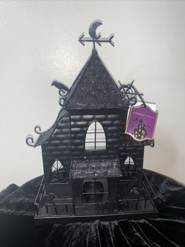 Moonlight Manor Halloween Metal Haunted House votive Candles - NWT Witch Cottage