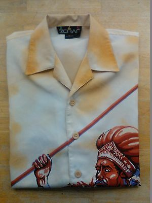 Asian Warrior Style Shirt Button Up Mongolia Speer Size L Polyester Unique 24x32 image