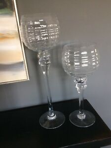 Decorative Glass Stemmed Candle Holders