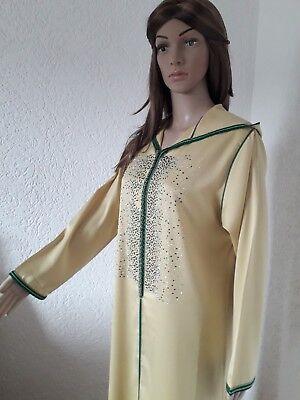 Marokkanische Kleidung Für Frauen (Marokkanisch Arabisch Kleid mit Kapuze- Gelb Djellaba Abaya Kaftan Kleid- Caftan)