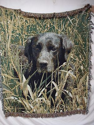 USA Made NWOT Man's Best Friend Lab Dog Tapestry Throw Blanket Afghan #348